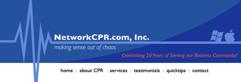 NetworkCPR.com, Inc. is a technology management company that offers high quality computer service, intelligent infrastructure consulting and intuitive web design. Our motto is our promise: we are committed to making sense out of chaos.